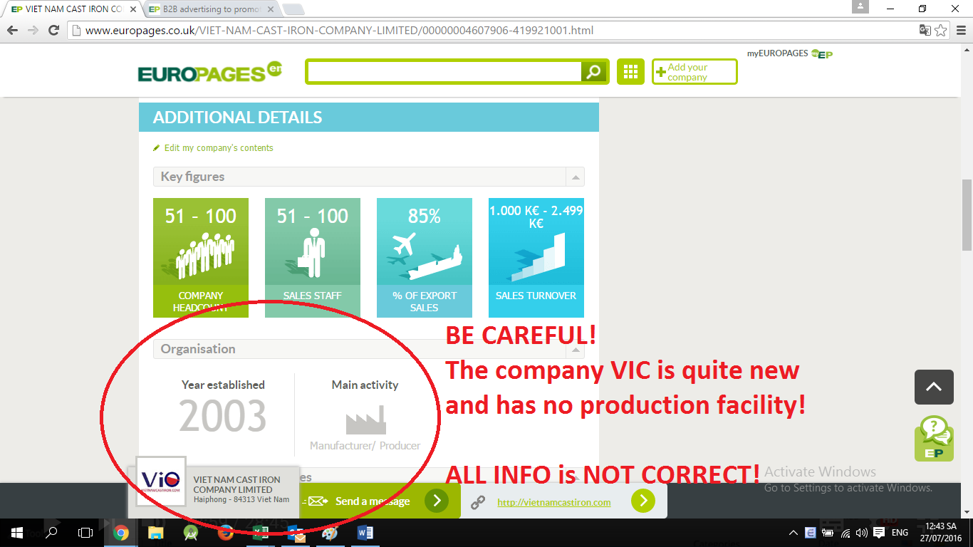 Fake VIC in Europages